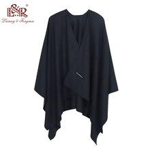 2020 140*140mm Winter Square female Poncho Cashmere Wool Women Poncho Scarf  Solid Foulard Femme Pashmina Shawl Winter Excharpe