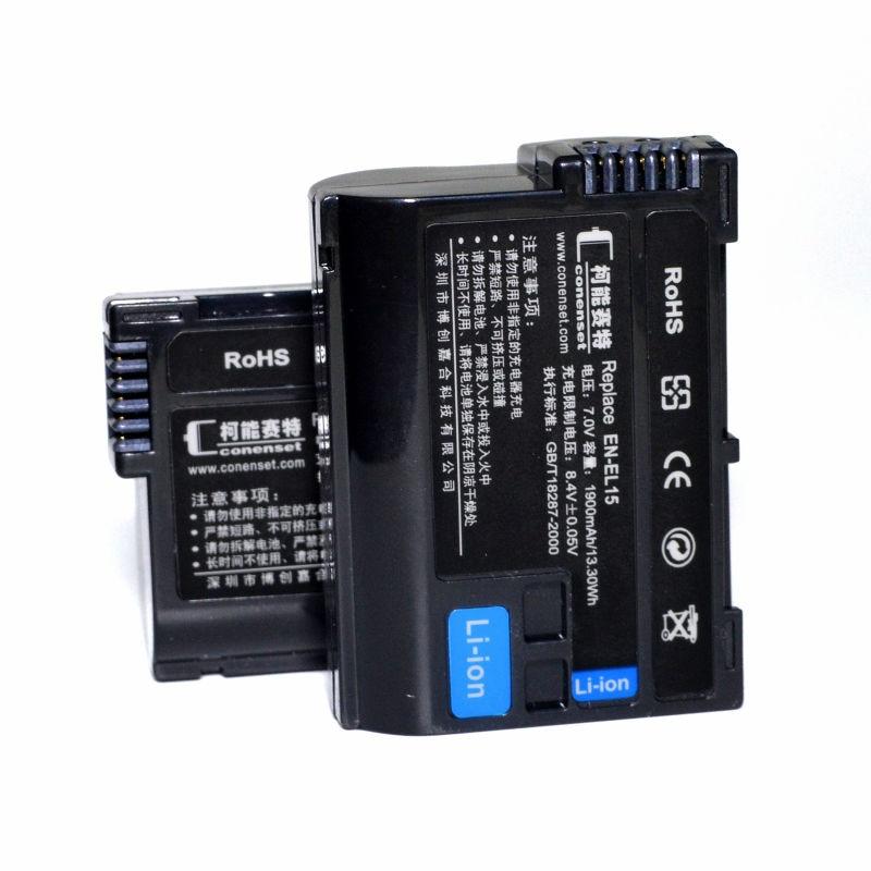 2PCS EN-EL15A Battery For Nikon 1 V1 D500 D600 D610 D7000 D7100 D7200 D750 D7500 D800 D800E D810 D810A D810E Camera jjc camera wired remote controller cord shutter release cable for nikon d7500 d7200 d750 d500 d800 d810 f100 d5500 d5600p7700