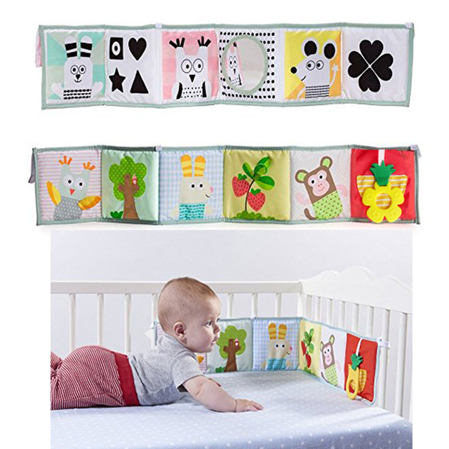 1PC Baby Bed Bumper Double-sided Cloth Reversible Colorful  Infant Baby Pram Crib Clip-on Bumper Protector