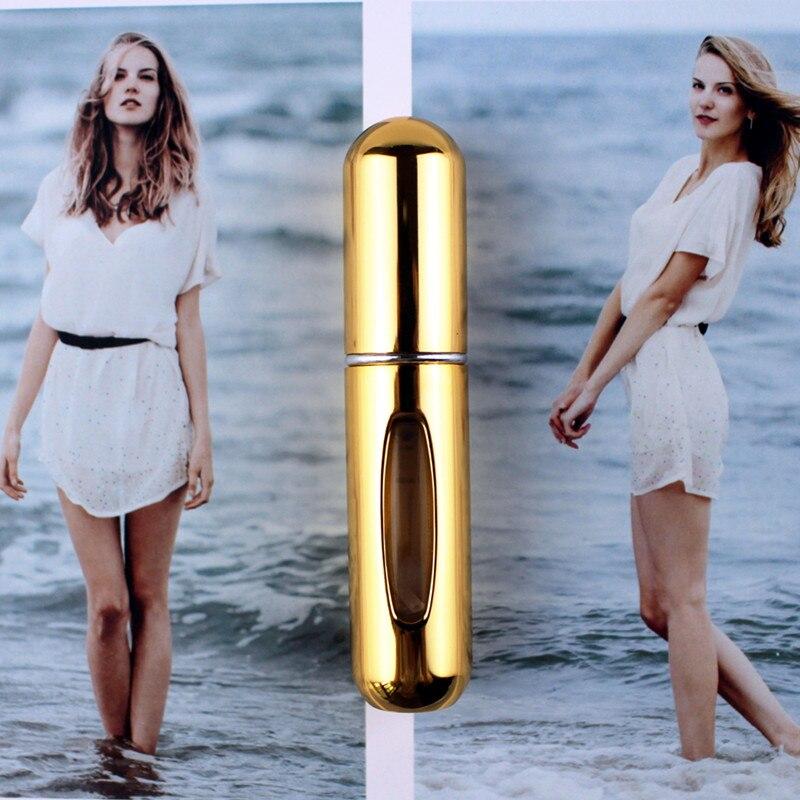 1 шт. высокое качество 5 мл флакон духов мини металлический распылитель многоразовый Алюминиевый распылитель для парфюма размер путешествия - Цвет: Shiny Gold