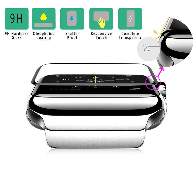 [1/2-Pack] Suntaiho 3D Full Cover Edge for apple watch 4 glass film Watch 4 40/44mm Protector Film for Apple Watch Series 1/2/3