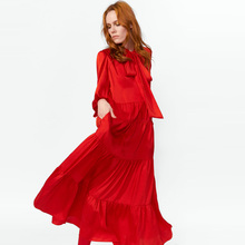 f35824b00813 Jastie high neck with tie Boho Chic Women Dress Ruffle Flowing Maxi Dresses  Long Sleeve Spring