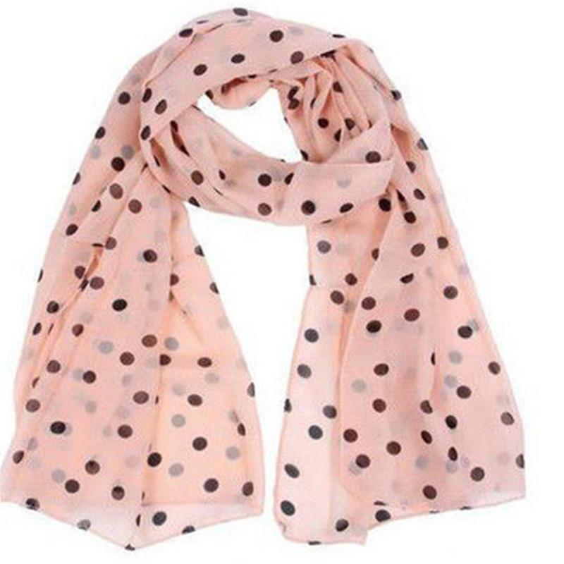 57d4f355e1d7 Style Real chiffon Classic Polka Dot Scarf Long Chiffon Scarf Women s  Korean Version Silk Scarf Pink Newest