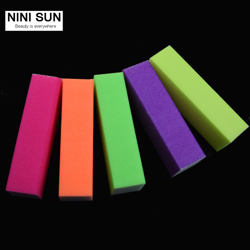 5Pcs New Colorful Nail File 4 Sides Nail Art sanding Buffing Block Nail Art Tips Women Nail Files Color Random Beauty Manicure
