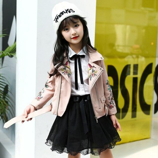 春の秋の子供刺繍レザージャケット 2019 女の子は、ファッション子供 Pu レザーコート