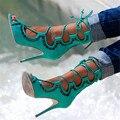 Sexy Recortes Tornozelo Cruz Amarrada Ata Acima Sandálias Botas Sandálias Gladiador Das Mulheres Sandálias 2016 Sapatos de Salto alto Mulher Sandalias Mujer