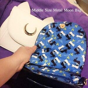 Image 4 - Wit/Zwart Sailor Moon Luna/Artemis Schoudertas Dames Luna Kat Lederen Handtas Vrouwen Messenger Crossbody Keten Kleine tas