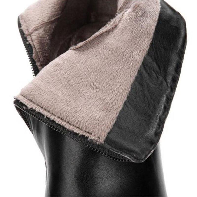 Pour Froid Kemekiss Taille blanc Bottes Talons Femme mollet 32 L'hiver Femmes Mince Footwears Noir 43 Chaud Fourrure Chaussures Mi Zipper wvA7CwBq