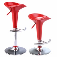 Goplus Set of 2 Modern Bombo Style Swivel Barstools Adjustable Counter Chair Red Black White Swivel Bar Stools HW51432(China)