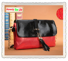 Famous Brand Fish Scale Tassel Panelled Designer Handbag 2015 Women socialite leather cover clutch party bag bolsa de franja 3