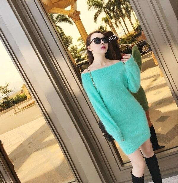 女性のスラッシュネックドレスセーターニットミンクカシミヤプルオーバーセーター女性暖かい編み厚手コート送料無料 Z383  グループ上の レディース衣服 からの プルオーバー の中 1