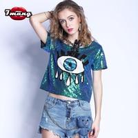 2017 Summer Women Street Fashion Cartoon Eye Sequins T Shirt Sexy Silver Gold Green Party T