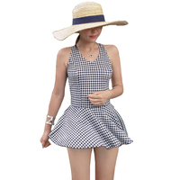 Swimsuit Backless Skirt One Piece Swimwear For Women Female 2017 Newest Deep V Neck Plaid Padded