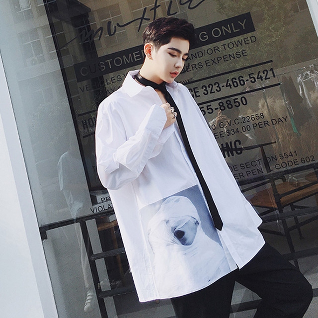 Oversize Mannen Losse Mode Casual Shirt Retro Afdrukken Mannen