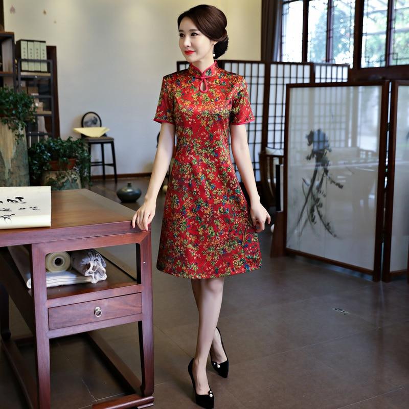 Chinois Xxl Nouvelle Robe Leng Court Xxxl Xl S rouge Arrivée Genou Style 1457234 Qipao Cheongsam vert Rayonne M L Femmes Taille Mode De Bleu U5HUqzr