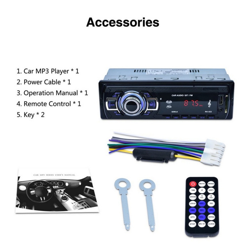 Image 5 - RK 522 Car MP3 Player AUX Built in Bluetooth Hand free Auto Bluetooth Radio USB 2.0 1din Stereo Car MP3 Radio Player Bluetooth-in Car MP3 Players from Automobiles & Motorcycles