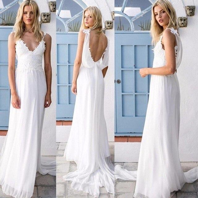 2017 Y Bohemian Wedding Dress V Neck Chiffon Backless Summer Beach Dresses Boho