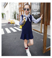 1 Pcs 4-12 Year Old Girl Dresses Preppy Style Dresses Long Sleeves Cotton Pink Blue Girl Dresses Spring Autumn Season V20