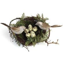 Имитация поддельного птичьего гнезда Настольный орнамент природа 13 см Круг Птица набор для клетки фотографии реквизит Садоводство украшение желтое яйцо