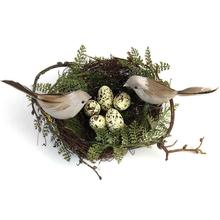 Simulation Fake Bird Nest Desktop Ornament Nature 13cm Circle Bird Cage Set Photography Props Gardening Decoration Yellow Egg