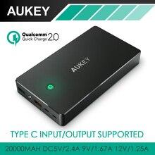 Aukey Быстрая Зарядка 2.0 Быстрой Зарядки Power Bank 20000 мАч Портативный Внешний Батарея С Micro USB и Типа C Выход и Вход 3А