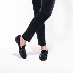 Image 5 - Piergitar 2019 בעבודת יד שחור קטיפה נעליים עם מכתבי אהבת עיצוב אופנה מסיבת חתונה גברים מוקסינים בתוספת גודל גברים של דירות