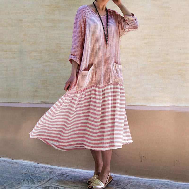 Women Dresses Fashion Loose Casual Oversized Round Neck Striped Long Pocket Summer Ladies Boho Dress Long