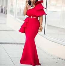 Красное платье макси на одно плечо с оборками праздничное вечернее