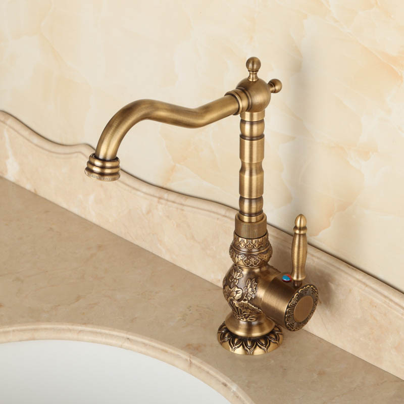Antique Brass Bathroom Faucet Lavatory Vessel Sink Basin Kitchen - Brushed brass bathroom faucets