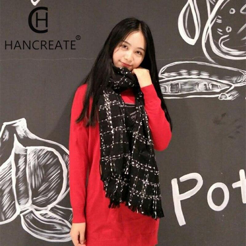 Image Scarf winter women 2017 new plaid design large size ladies scarves cape black color cashmere pashmina shawl wrap hijab femme