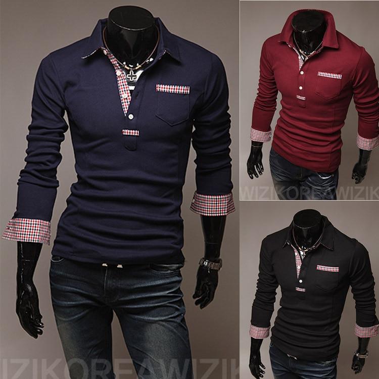 WHOLESALE free shipping 2012 autumn men s casual long sleeve cool t-shirt  fashion polo shirt  1a31ca7e6ab