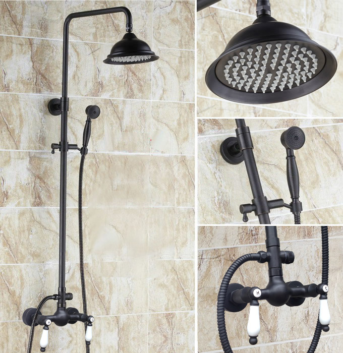 Дождевой клапан душевого распылителя кран Набор черный масло втирают Бронзовый Отделка 8,2 дюймов ванная комната ars472