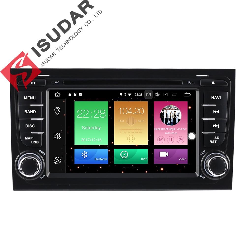 Isudar Voiture Multimédia Lecteur Autoradio GPS Android 8.0 2 Din Pour A4/S4/Audi 2002-2008 capacitif Écran Tactile Autoradio USB DVR