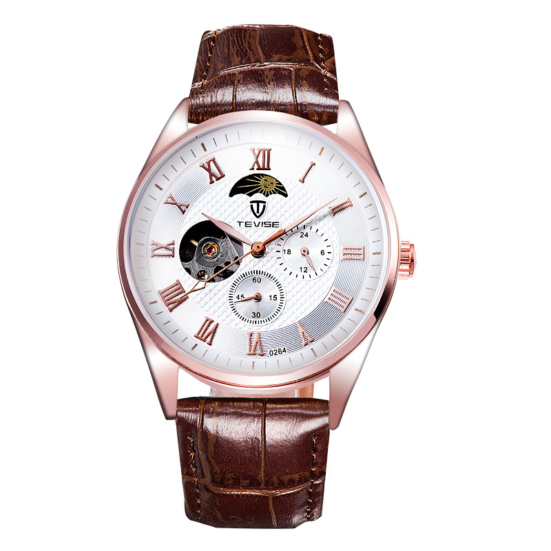 NEW Male watches luxury Brand Automatic Self-Wind mechanical Wristwatches with Luminous waterproof Moon Phase Tourbillon 0264