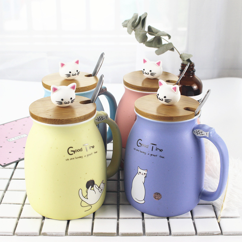 Animal Glaze Ceramic Coffee Milk Cup Breakfast Cup Creative Cup Gift Office Household Student Travel Hand Painted Ceramic Cup
