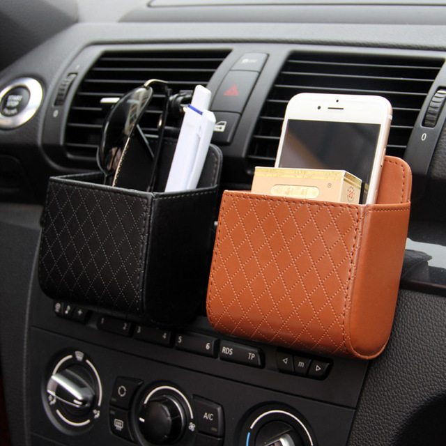 PU Leather Car Organizer Storage Box Truck Interior Accessories Auto Organizer in Truck Car Styling Glass Phone Holder Container
