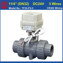 ПВХ DN32 Пластиковые Шаровых Клапанов TF32-P2-C 24В 3 Провода 2 способ BSP/NPT 11/4 »Клапан НМ Вкл/Выкл 15 Сек Metal Gear CE IP67