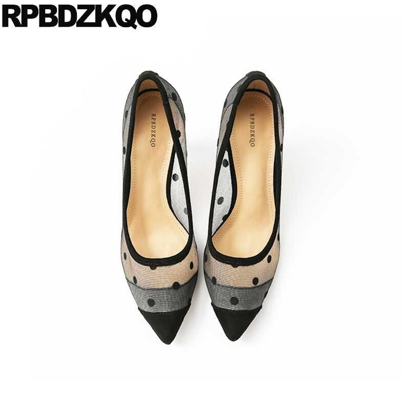 c622f7b315d Black Big Size Pumps Polka Dot High Heels Scarpin Sandals 3 Inch 33 Pointed  Toe 12