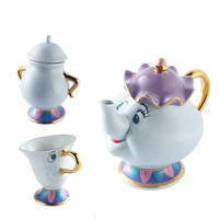 1 Pot+1 Cup+1 Sugar Cartoon Beauty And The Beast Coffee Pot Mug Cup Set Mrs Potts Chip Kettle Mark Porcelain 18K Gold plated