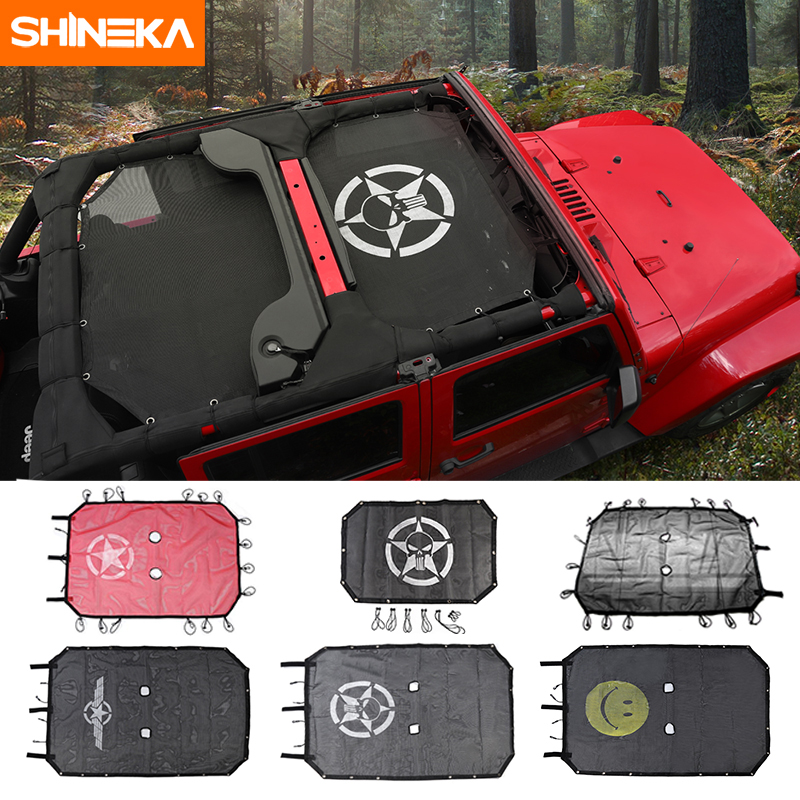 SHINEKA Top parasol maille bâche de voiture toit résistant aux UV filet de Protection pour Jeep Wrangler JK 2 portes et 4 portes accessoires de voiture style - 6