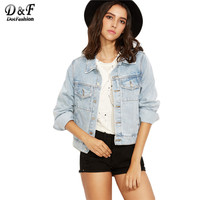 Dotfashion Light Blue Button Front Single Breasted Denim Coat Classic Style Ladies Lapel Long Sleeve Jacket