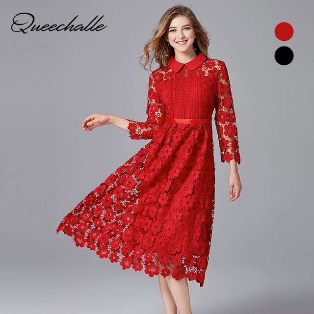 7d9220abb2 Queechalle 2018 Autumn Dress black red mid long hollow out elegant lace dress  Women s plus size long sleeve slim party dresses