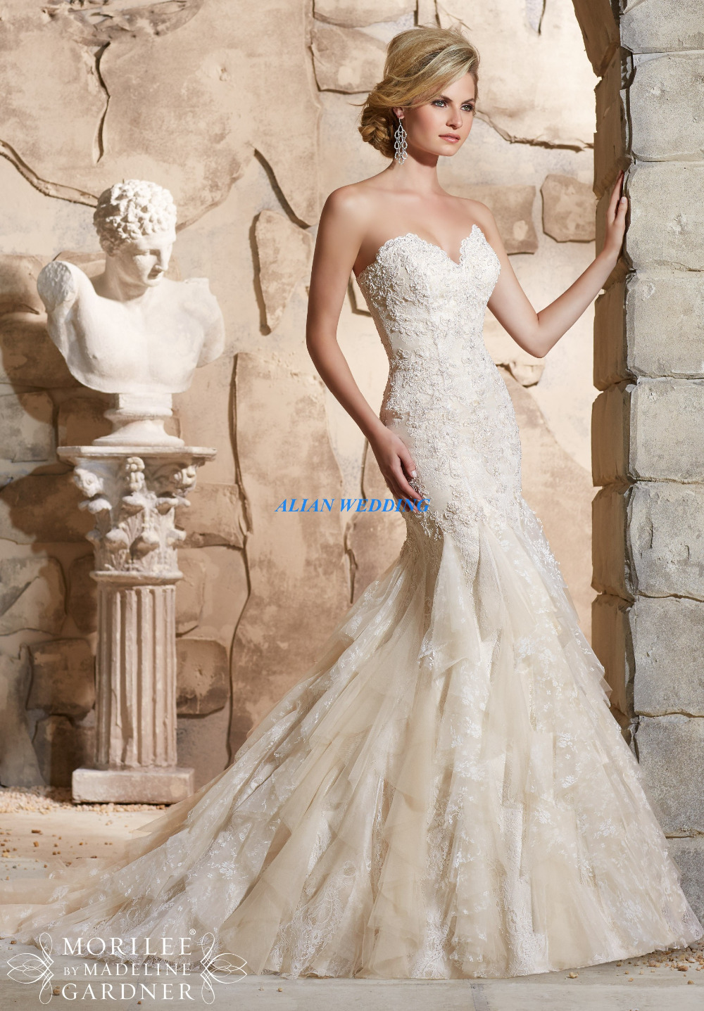 Vogue Wedding Dresses Flowy Vintage Vestidos De Novia Liques Fashion Bridal Gowns Lace Organza Ruffles Free Shipping Nw3509 In From