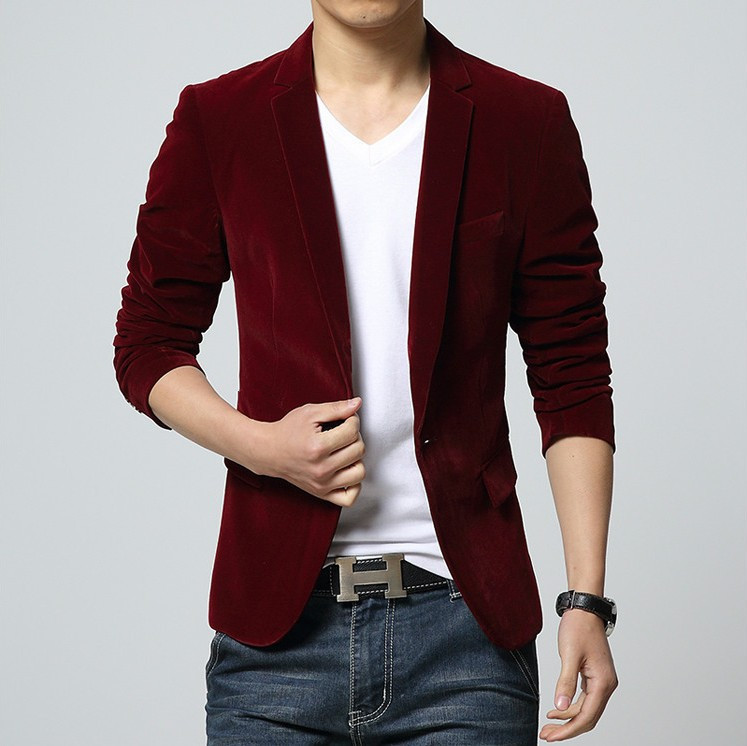 2018 Mens Blazer Brand Clothing Casual Suit Slim Jacket Single Button Corduroy Blazer Men Dress Suits Terno Masculino Plus Size