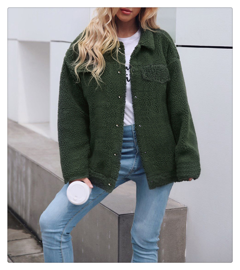 Spot Europe and the United States autumn and winter new style imitation fur foreign trade women plush coat leisure coat women (11)