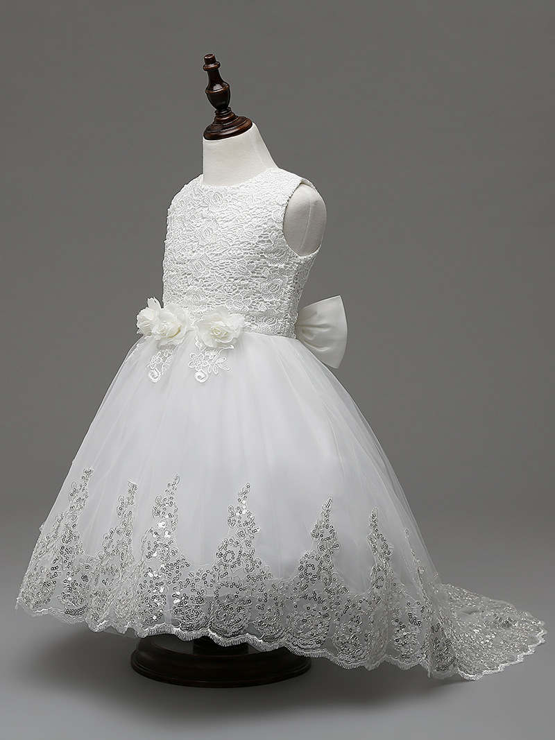Children White Kids Girls Party Gown Formal Dress Sequins 3d Flower 2 3 4 5 6 7 8 9 10 Year Old Girl Wedding Gowns