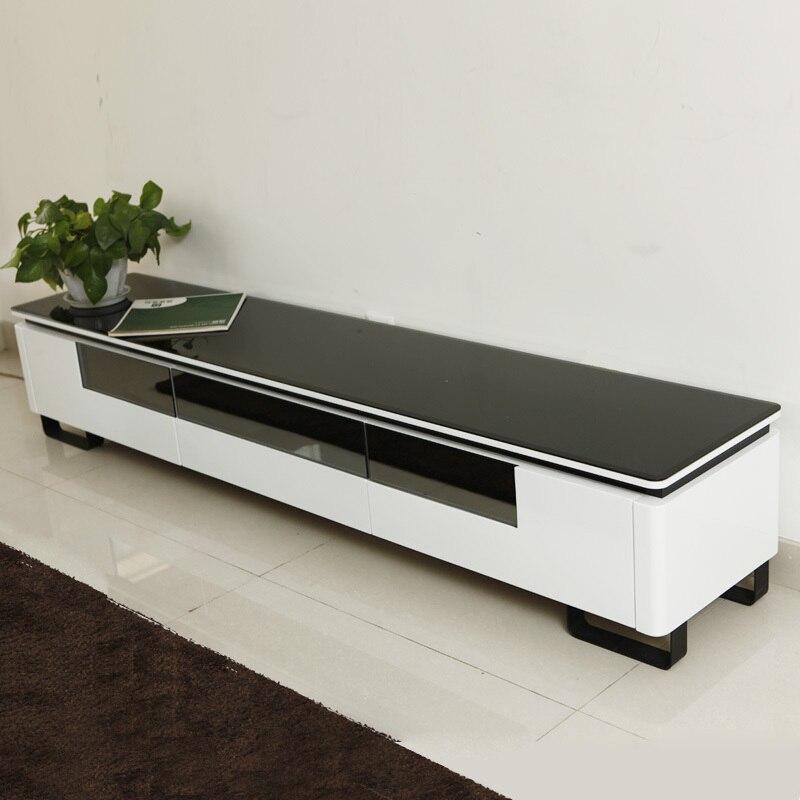 Shu Can Black Glass Tv Cabinet Modern Minimalist Fashion Piano Paint