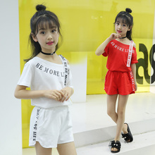 2019 Kids Girls Double Sided Tape Clothes Set Summer Girls Outfits Letter Print Double Sided Tape Tracksuit 2Pcs Set contrast tape letter print velvet tee