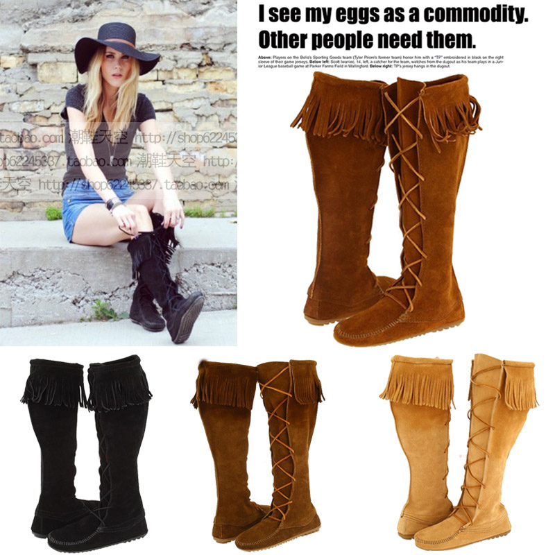 Winter Women Genuine Leather Lace Boots Flat Heel Cross Strap Fringed Boots Suede Over The Knee Boots Size 41 Botas Femininas женские блузки и рубашки hi holiday roupas femininas blusa blusas femininas