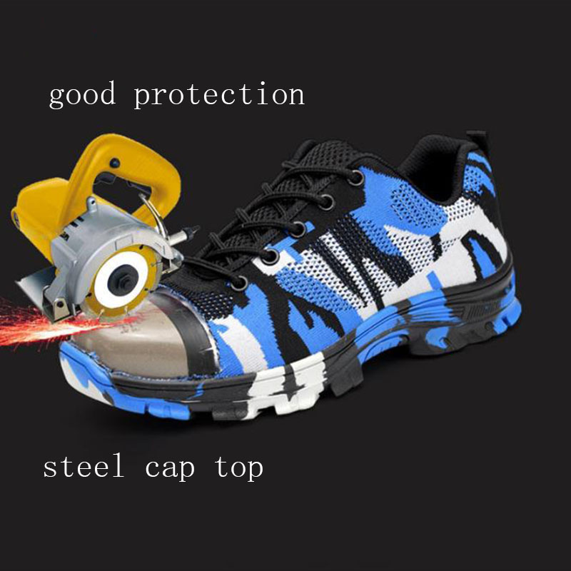 b6fa13bf3f84 Men Working Boots Outdoor Steel Toe Breathable Sneakers Protective Puncture  Proof Safety Smash and piercing Low